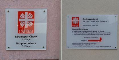 Für den Caritasverband in Peine haben wir diverse Schilder gefertigt.